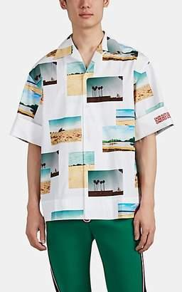 Calvin Klein Men's Landscape-Photo-Print Cotton Poplin Oversized Shirt - White