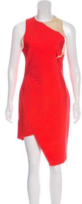 Thierry Mugler Mesh-Trimmed Sleeveless Dress