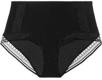 Paroles Chanson Stretch-cloque And Leavers Lace Briefs - Black