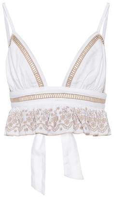Lily embroidered cotton crop top