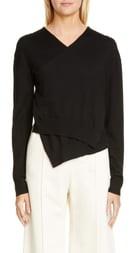 Rosetta Getty Wrap Front Merino Wool Sweater