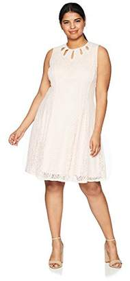 Gabby Skye Women's Plus Size Multi Key Hole Lace Dress
