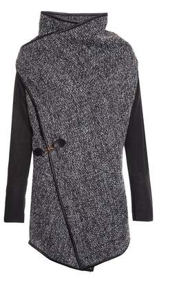 Quiz Black and Grey Knit Cross Over Long Sleeve Cardigan