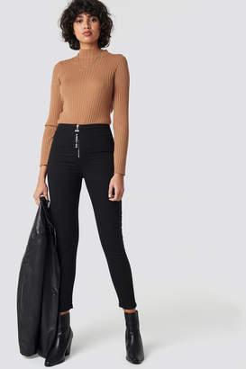 Trendyol Zipper Detailed High Waist Skinny Jeans Black