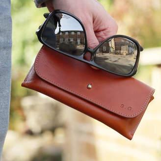 The British Belt Company Men's Italian Leather Personalised Glasses Case
