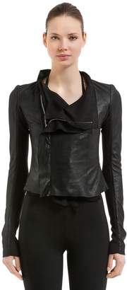Rick Owens Layered Leather & Georgette Biker Jacket