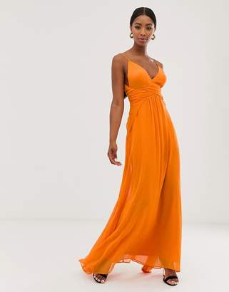 Asos Design DESIGN cami maxi dress with soft layered skirt and ruched bodice