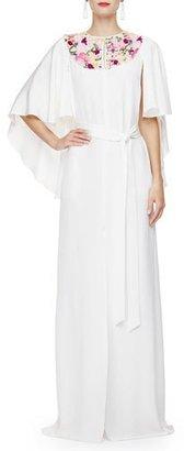Oscar de la Renta Floral-Embroidered Caftan Gown, Ivory/Multi $4,690 thestylecure.com