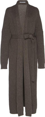 Agnona Cashmere Chunky Pearl Ribbed Belted Cardigan