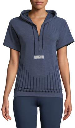 adidas by Stella McCartney Run Ultra Primeknit Hooded Short-Sleeve Prime-Knit Tee