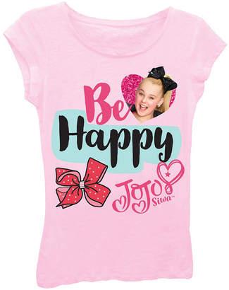 Asstd National Brand JoJo Siwa Be Happy Short Sleeve Graphic T-Shirt with Magenta Glitter Girls 4-6