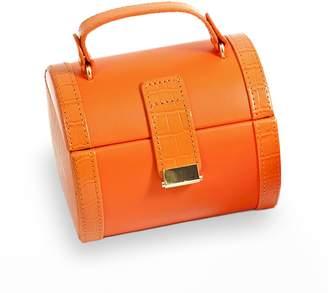 Bey-Berk Bey Berk Orange Crocodile Leather Jewelry Case & Valet Tray Set