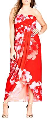 City Chic Tango Floral Strapless Maxi Dress