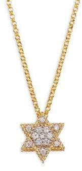 Roberto Coin Diamond& 18K Yellow Gold Star Of David Necklace
