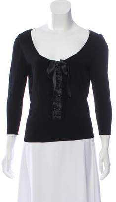 Valentino Lace-Up Scoop Neck Top