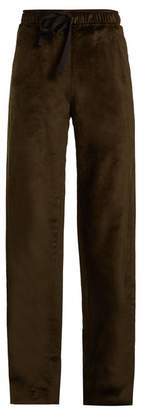 Palmer Harding Palmer//Harding Palmer//harding - Tie Waist Straight Leg Velvet Trousers - Womens - Dark Green