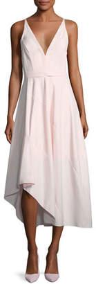 Narciso Rodriguez Sleeveless Belted Asymmetric Dress