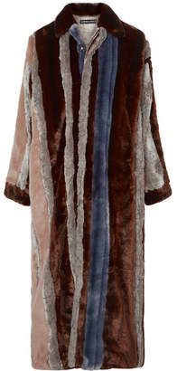 Y/Project Paneled Faux Fur And Tartan Twill Coat - Brown