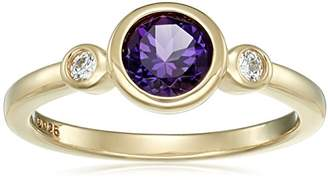 Swarovski Yellow Gold Plated Sterling Silver Oval and Zirconia with Textured Finish Ring
