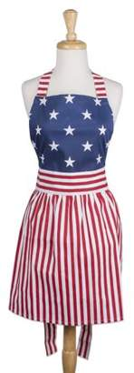 "Design Imports Red, White & Blue Skirt Kitchen Apron, 31""x28"", 100% Cotton, Red, White, Blue"