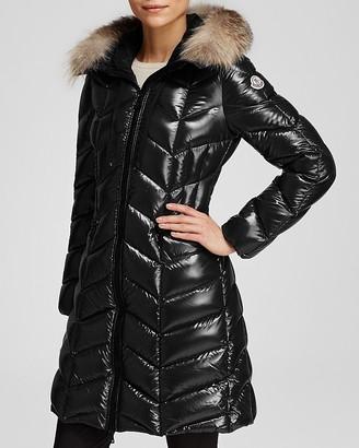 Moncler Bellette Hooded Down Coat with Fur Trim $2,210 thestylecure.com