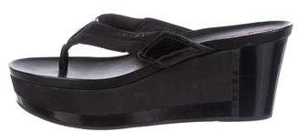 Prada Sport Patent Leather-Accented Thong Sandals