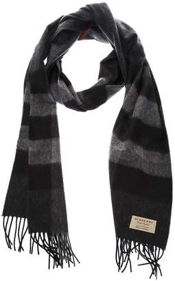 Burberry Black And Grey Classic Fringed Scarf In Cashmere