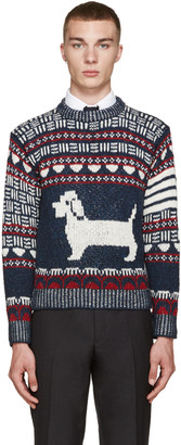 Thom Browne Navy Fair Isle Hector Sweater $620 thestylecure.com