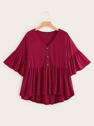 Shein Plus V Neck Button Front Ruffle Hem Solid Tee