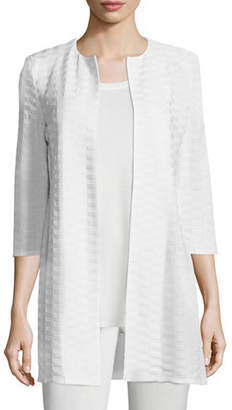 Misook Textured Long Open Jacket, Plus Size