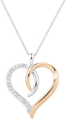 Two Hearts Forever One Two Tone Sterling Silver 1/4 Carat T.W. Diamond Interlocking Heart Pendant