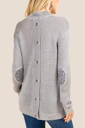 francesca's Gwen Button Back Sweater - Heather Gray