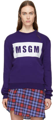 MSGM Purple Logo Box Sweatshirt