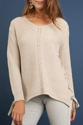 Umgee USA Side Lace-Up Sweater
