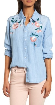 Women's Rails Chandler Embroidered Chambray Shirt $188 thestylecure.com
