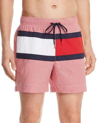 Tommy Hilfiger Logo-Print Striped Regular Fit Swim Shorts