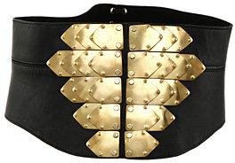 Office Lace Back Metal Belt Black Lthr/Gold