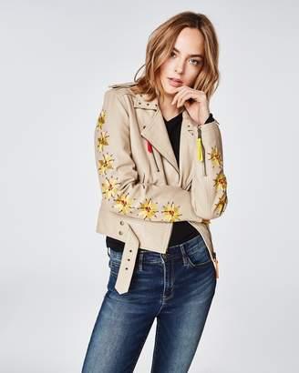 Nicole Miller Amazon Embroidered Moto Jacket