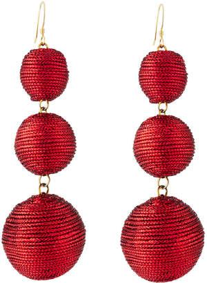 Kenneth Jay Lane Threaded Triple-Drop Ball Earrings, Red