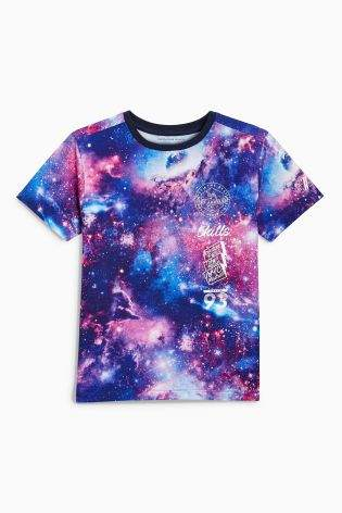 Boys Multi All Over Print Space T-Shirt (3-16yrs) - Pink