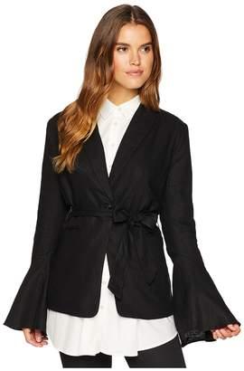 Free People Flared Sleeve Linen Blazer Women's Jacket