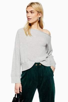 Topshop Off Shoulder Crop Jumper with Cashmere