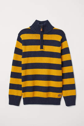 H&M Knit Sweater with Collar - Yellow