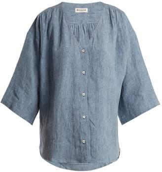 Masscob Oversized V-neck linen-chambray top