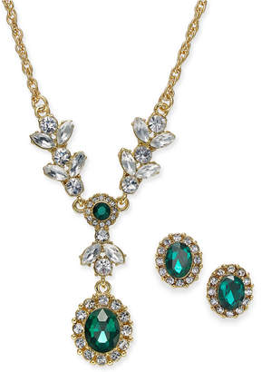 "Charter Club Gold-Tone Crystal and Stone Lariat Necklace & Stud Earrings Set, 17"" + 2"" extender, Created for Macy's"