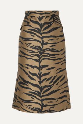 Carolina Herrera Metallic Jacquard Midi Skirt - Brown