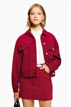 Topshop Cherry Red Denim Jacket
