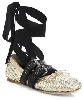 Miu Miu Belted Woven Metallic Leather Ankle-Wrap Ballet Flats $890 thestylecure.com