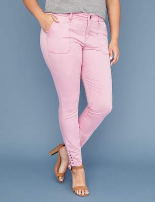 Lane Bryant Pink Utility Skinny Pant - Lace-Up Ankle