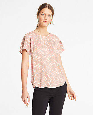 Ann Taylor Spade Pleated Shoulder Tee